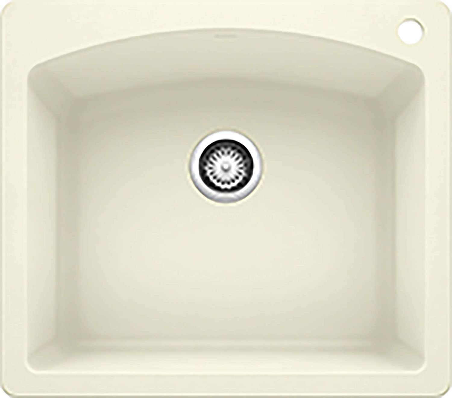 BLANCO 440212 Diamond Silgranit Drop-In or Undermount Kitchen Sink, 25 X 22 , Biscuit