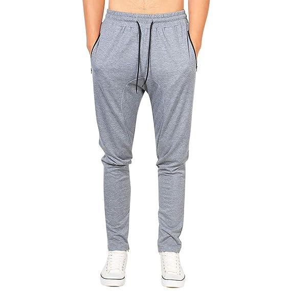 Moda Color Sólido Hombre Pantalones Largos Deportivos Pantalones ...