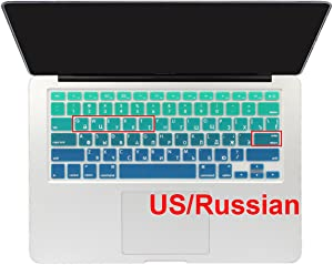 Batianda Russian Alphabet Ombre Color Keyboard Cover Protector Waterproof Silicone Skin for Apple MacBook Air 13 Mac Pro 13 15 17 inch (with or Without Retina Display,Old Version) (Gradient Green)