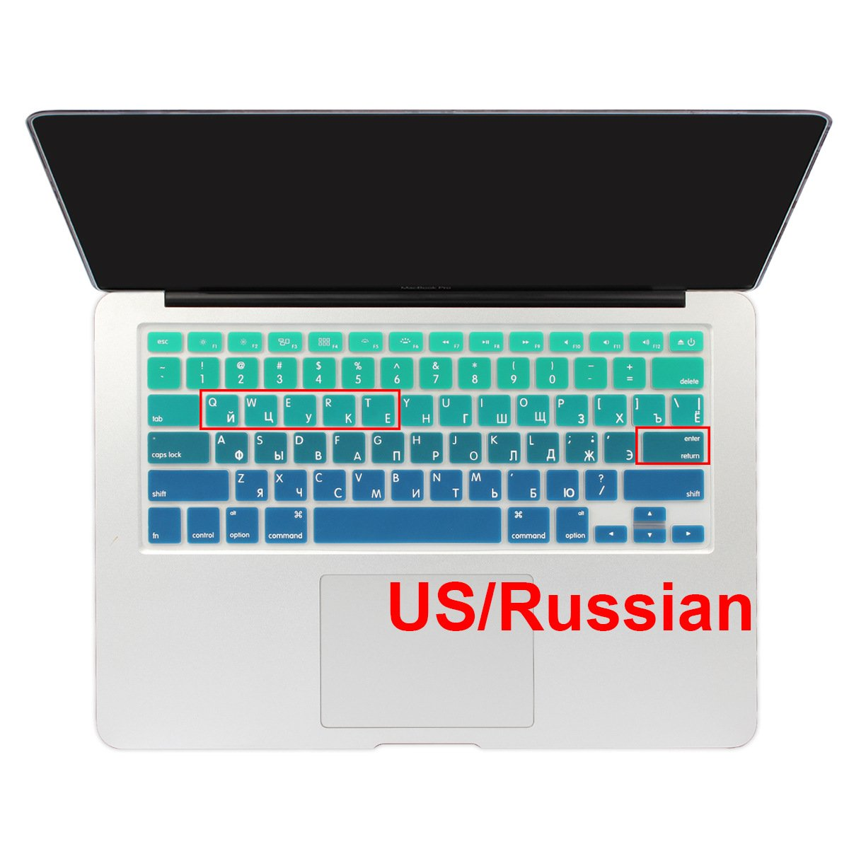 Batianda Russian Alphabet Ombre Color Keyboard Cover Protector Waterproof Silicone Skin for Apple MacBook Air 13 Mac Pro 13 15 17 inch Gradient Green with or without Retina Display