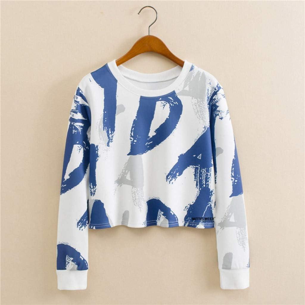 Portazai Women Crop Tops Long Sleeve Floral Printed Crop T-Shirt Casual Tee Tops Crewneck Teen Girls Pullover Sweatshirt