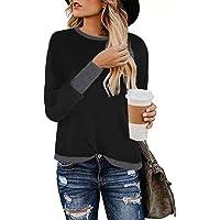 AUU Women Tops Stylish Leopard Print Shirts Long Sleeve Patchwork Sweatshirt Casual Round Neck Pullover