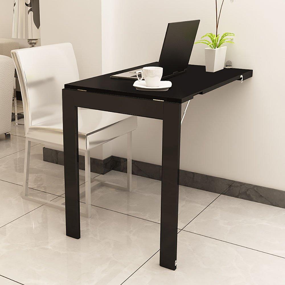 ウッド折りたたみ式壁掛け式落書きテーブル折りたたみ式キッチン&ダイニングテーブルブレックファーストコンチネンタルデスク (色 : 黒, サイズ さいず : 74*45cm) B07KR6HX4M 黒 74*45cm