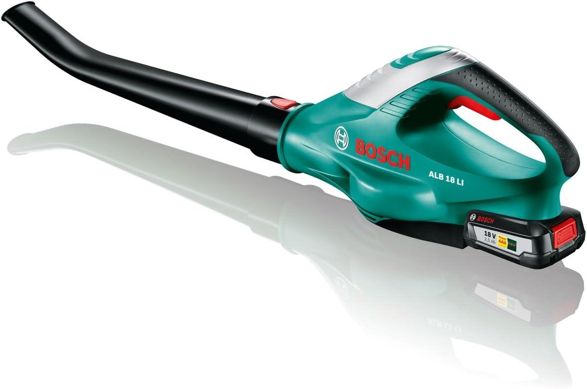 Bosch Home and Garden 06008A0501 Soplador a batería, 18 LI 2,5 Ah, Negro/Verde