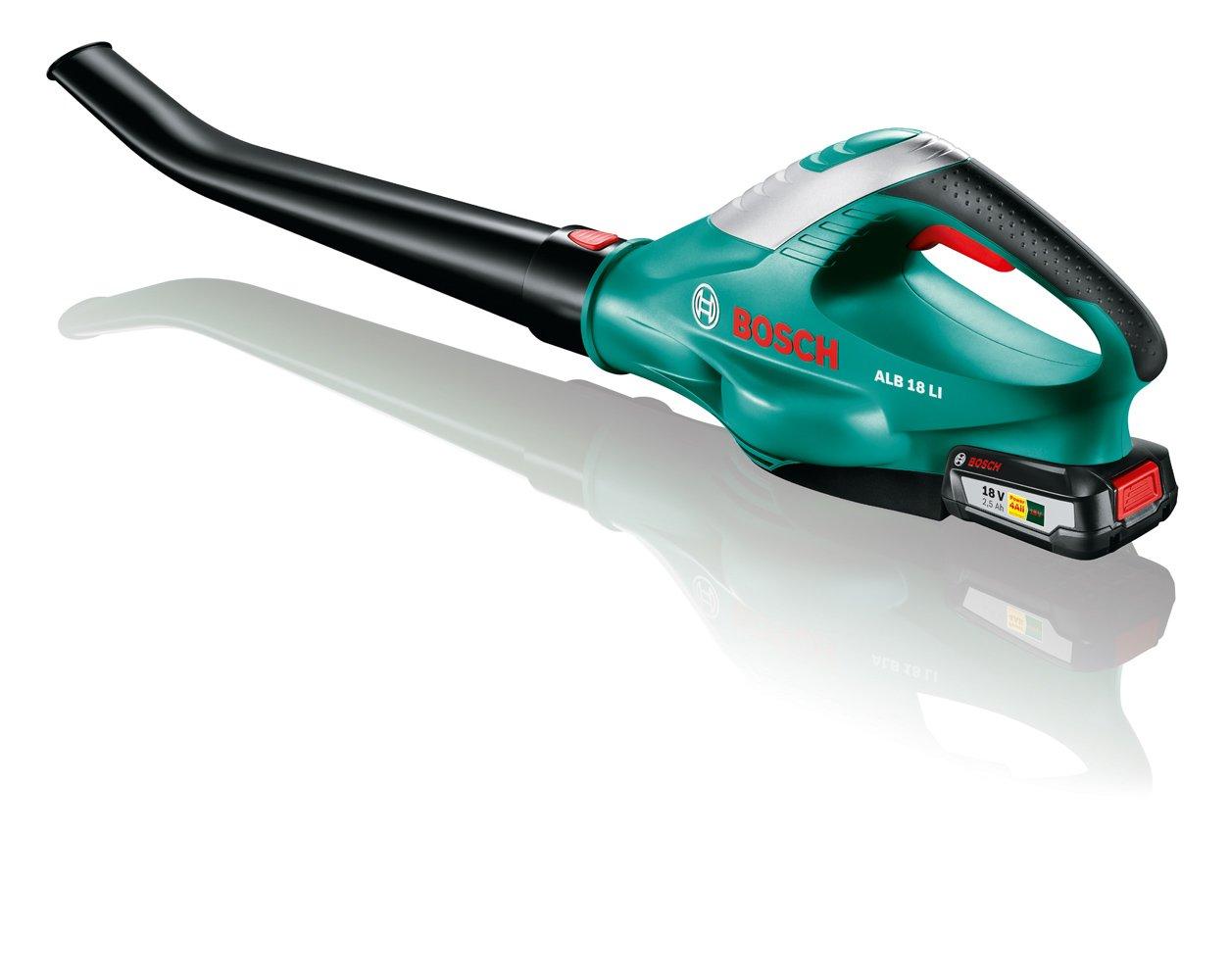 Bosch DIY Akku-Laubbläser ALB 18 LI, Akku, Ladegerät, Karton ( Ladezeit 60 Min, Laufzeit 17 Min, Max. Gebläsegeschwindigkeit 210 km/h)