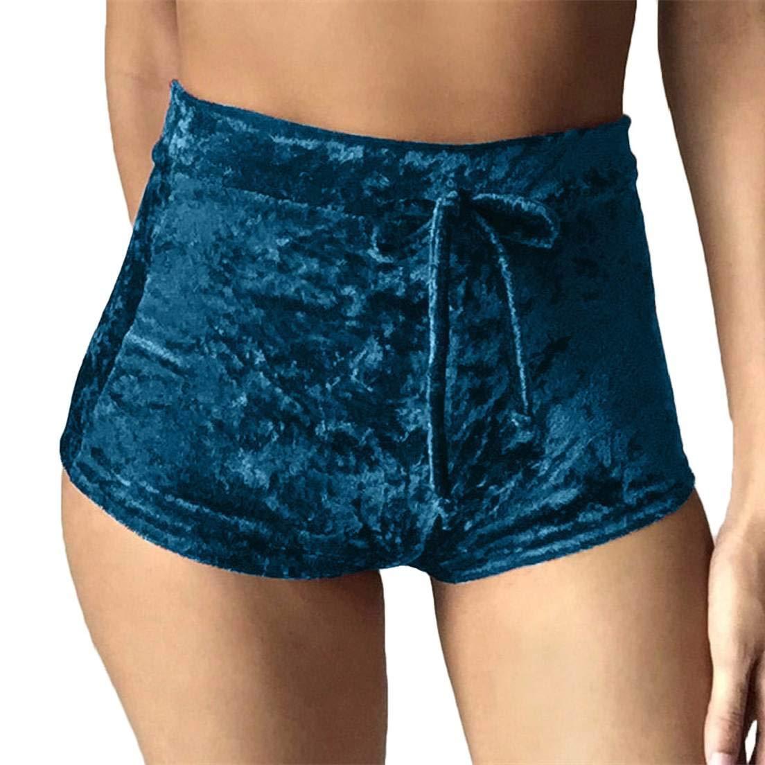 YYear Womens Clubwear Velvet Stretch Skinny Drawstring High Waisted Shorts
