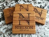 Personalized Wedding Gifts and Bridal Shower Gifts - Monogram Wood Coasters for Drinks (Set of 8, Nielson Design)