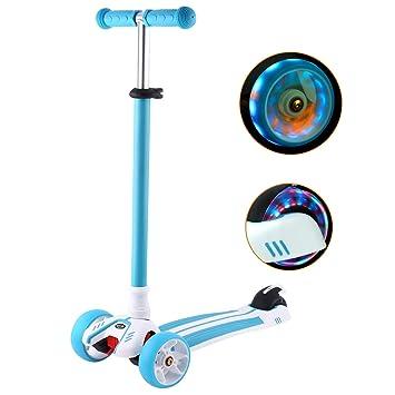 WeSkate Kinderroller Dreiradscooter mit PU LED Leuchtenden Räder und 3 Stufen Einstellbare Höhe Doppel-Hinterrad Big Wheel fü