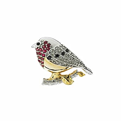 Brooch Boutique Gold Plated Crystal Robin Brooch Robin Redbreast Bird Brooch Christmas Pin Gift Boxed QF6epVNiY