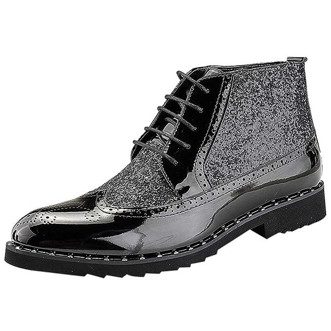 Men Chelsea Boots Patent Leather Autumn Formal Wedding Lace