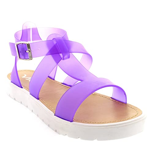 e3e1d1b329e Womens Shoes T-Strap Cleated Sole Open Toe White Flatform Jelly Sandals -  Purple -