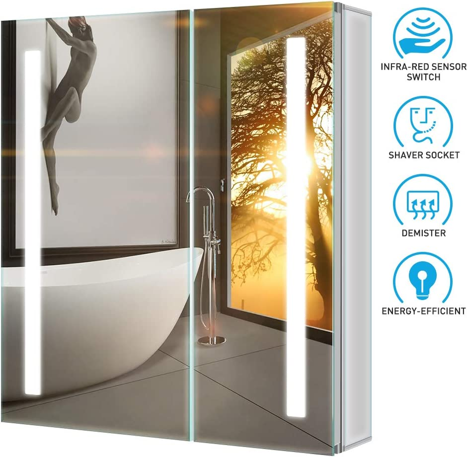 Tokvon Penumbra Muebles de baño con luz LED Mueble de Espejo de ...