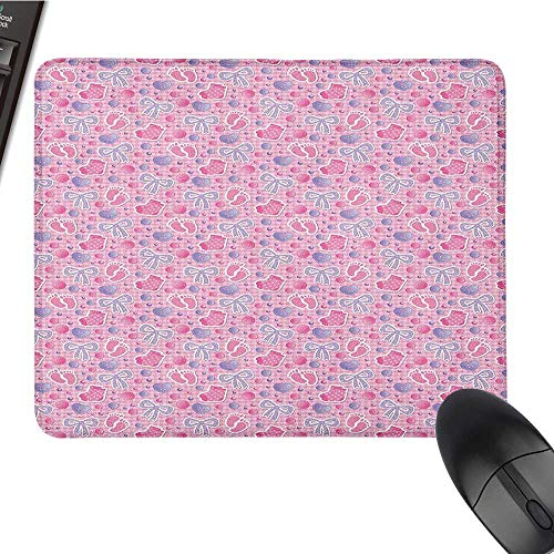Funny Mouse pad Baby,Bows and Bootes Buttons Ribbon Infant Elements Birthday Theme on Tartan Display, Pale Pink Mauve Funny Mouse pad 15.7 x23.6 INCH ()