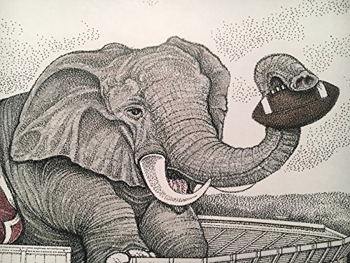 Alabama football stadium with elephant 11''x17'' pen and ink print from hand-drawn original by Campus Scenes (Image #6)