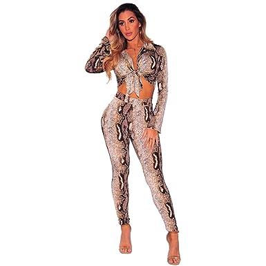 1d8a9ef80e407 CHENGYANG Femme Manches Longues Crop Tops + Pantalon Survêtement Ensemble  Casual Clubwear (Kaki, L