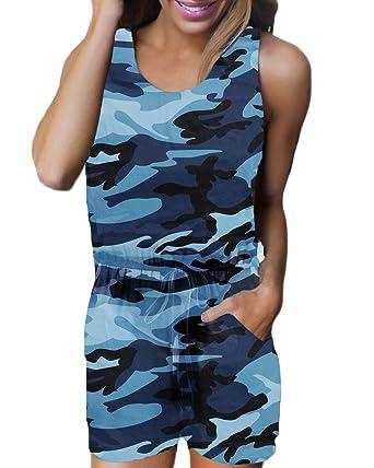 97f68ec27c Auxo Damen Ärmellos Kurz Rundhals Jumpsuit Camouflage Playsuit Sommer  Strand Einteiler C-blau Camouflage Small