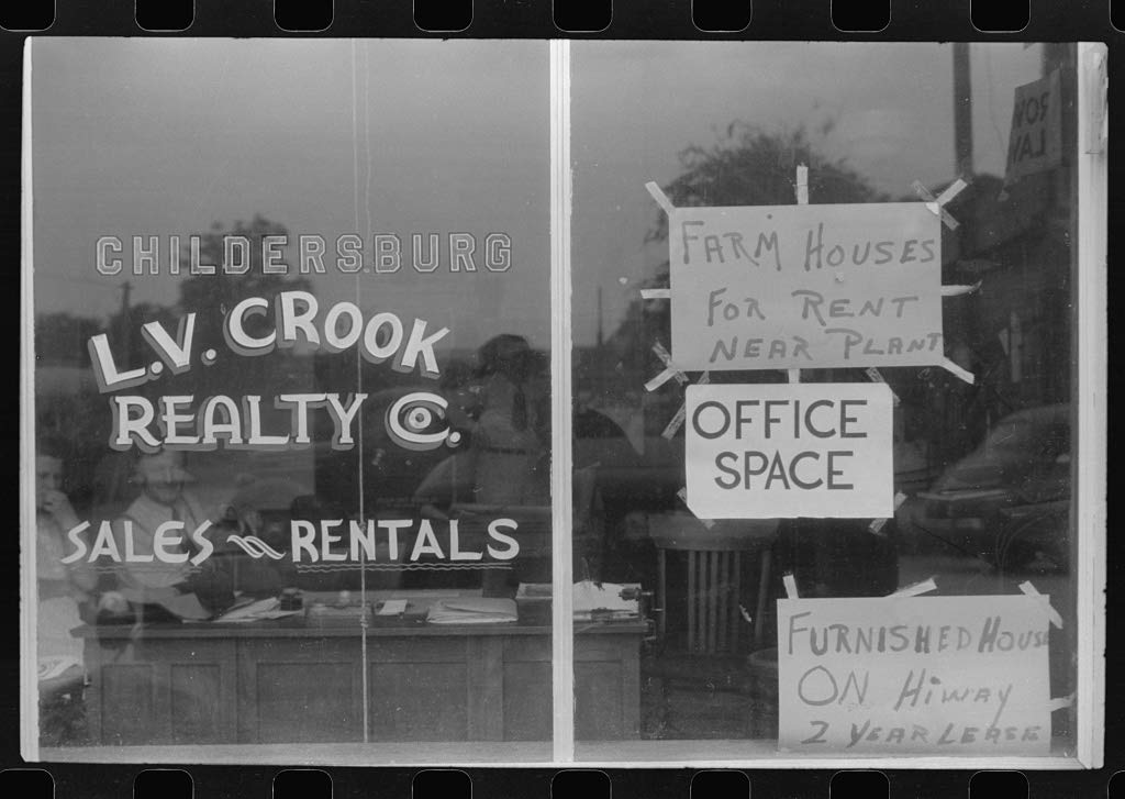 Vintography Reproduced Photo of Real Estate agent39;s Window, Childersburg, Alabama 1941 Delano C Jack 33a