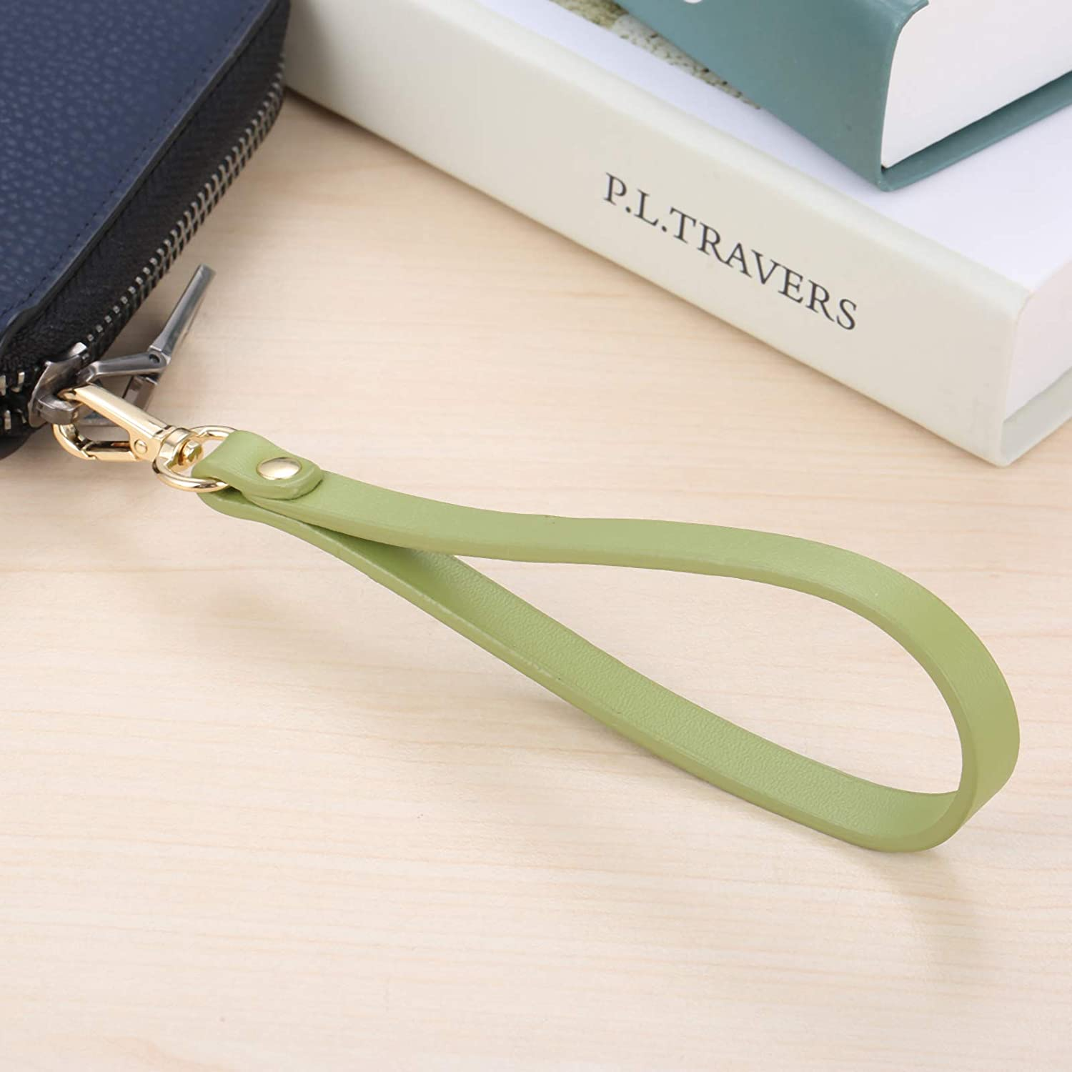 15 0.8cm Short Purse Strap Genuine Leather Wristlet Keychain Handle Rope for Purse Wallet DIY Accessory Tan