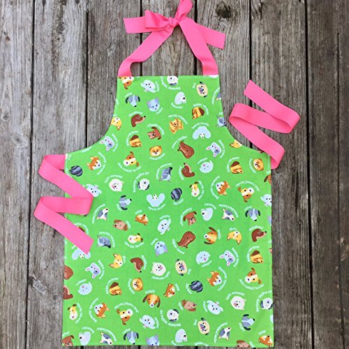 Tween Girl Green Dogs Kitchen Art Craft Apron from Sara Sews