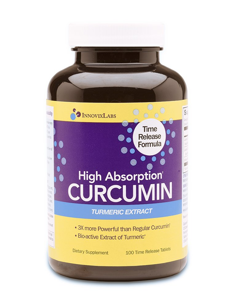 High Absorption CURCUMIN TURMERIC Extract (by InnovixLabs). 100 Time Release Tablets. Curcumin C3 Reduct + Curcumin C3 Complex + BioPerine. 3X More Powerful than regular Curcumin extracts.