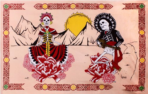 Sunshine Joy Mexican Day of the Dead Tapestry - 60x90 Inches - Beach Sheet - Hanging Wall Art]()