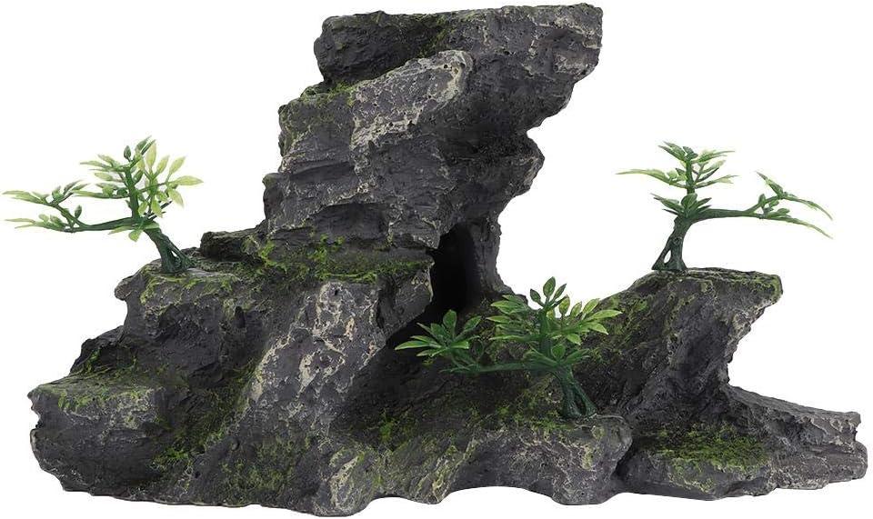 uxcell Resin Cave Rockery Fish Tank Aquarium Landscape Decor Stone Ornament Dark Gray