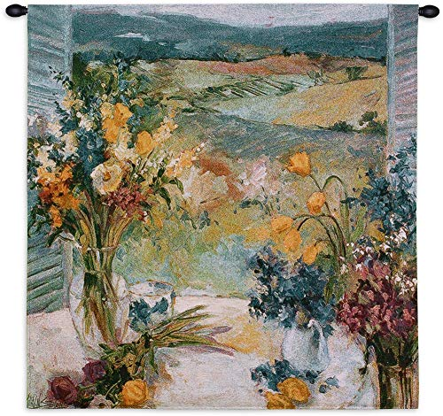 Tuscany Floral | Woven Tapestry Wall Art Hanging | Italian Villa Countryside | 100% Cotton USA Size 35x35