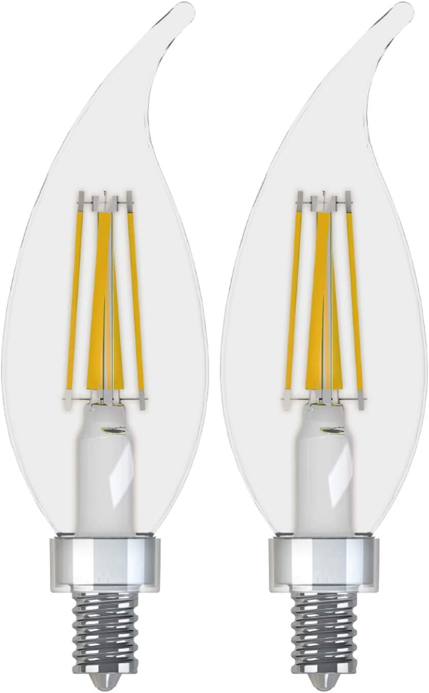 GE Lighting 36893 Clear Finish Light Bulb Relax HD Dimmable LED Decorative 4 (40-Watt Replacement), 300-Lumen Candelabra Base Bent Tip, 2-Pack, Soft White, 2