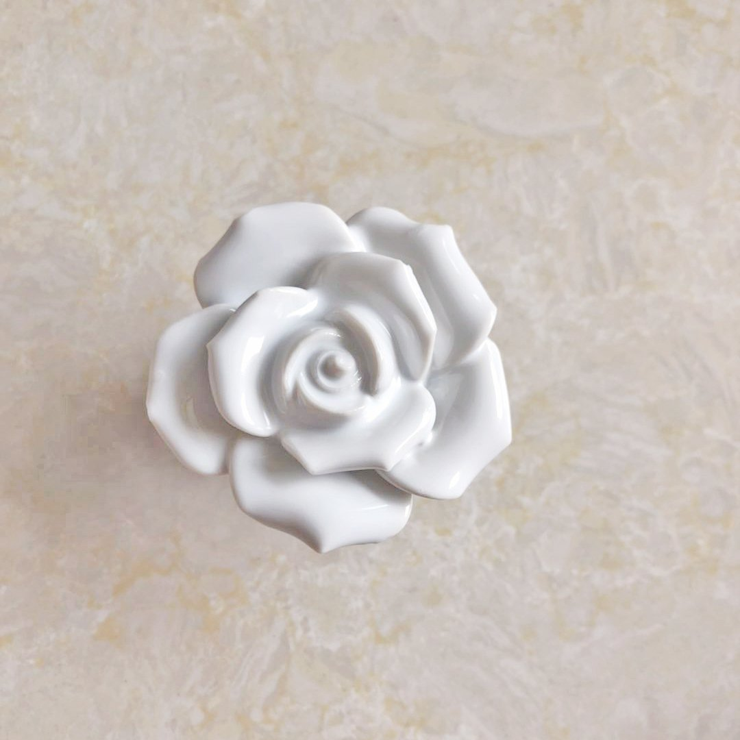 BAODELI White Flower Rose Door Knobs + Screw Floral Vintage Ceramic Kitchen Pull Handle Knob Home Modern Style Cupboard Pulls Drawer Knobs and Handles