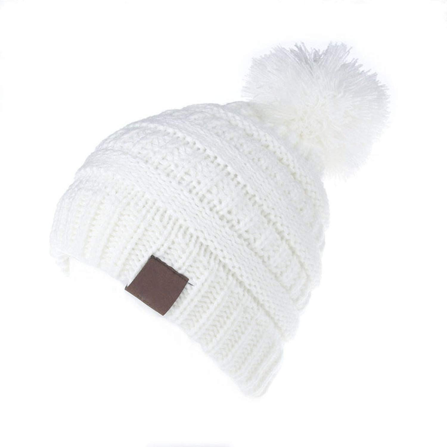 ecc1b96fa32 Amazon.com  HiiWorld 2-6 Years Children Knitted Pom Pom Hat for Boys Girls  Kids Winter Caps Wool Warm Pompom Beanie Hats Beige  Clothing