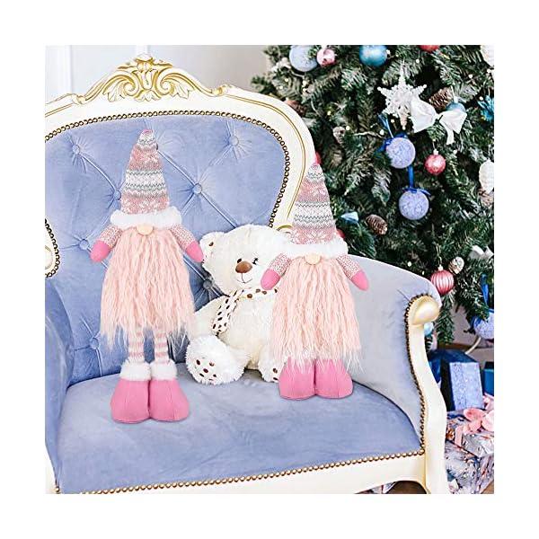 EKKONG Gnomo di Natale Decorazioni Natalizie 57 cm di Altezza, Gnomi Natalizi svedesi Tomte Babbo,Gnomo di Natale Mini Bambola di Stoffa, Regali Nani Scandinavi, Decorazioni Natalizie (Pink) 7 spesavip