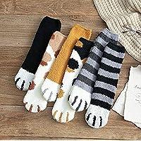 6 Pair Winter Cat Claws Cute Thick Warm Sleep Floor Socks,plush coral fleece socks female tube socks