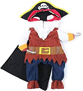 ROSENICE Funny Pet Clothes Pirate Suit Costume Dress for Cat Dog - Size S