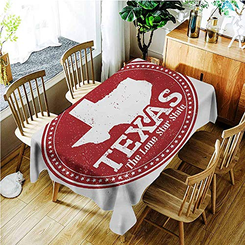 TT.HOME Spill-Proof Table Cover,Texas Star Vintage Stamp Pattern Map and The Lone Star State Written in Circular Frame,Party Decorations Table Cover Cloth,W60X90L,Ruby and White]()