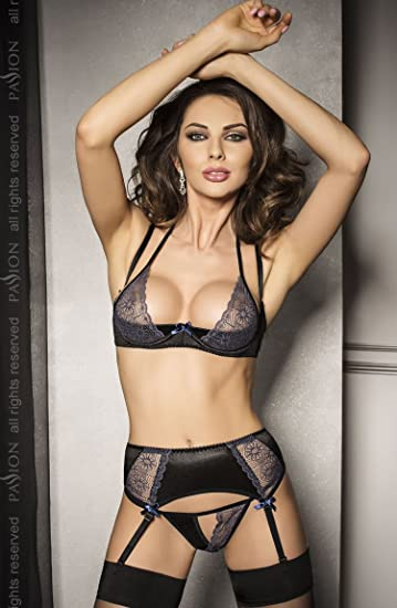 0fa4be0e5c Ladies Stunning Sexy 3PC Black Embroidered Sheer Panel Half Bra   Suspenders  Lingerie Set - L XL (UK 12-14)  Amazon.co.uk  Clothing