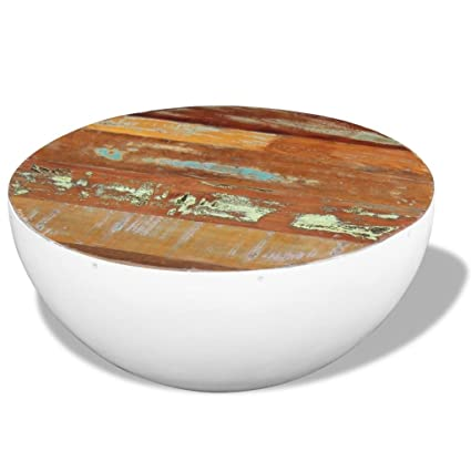 Elegant VidaXL Solid Reclaimed Wood Round Coffee Table Bowl Shape Steel Frame Home  Decor