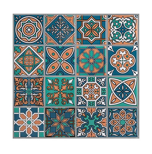 Tiles And Ceramic Stick Peel (HUE DECORATION Blue Moroccan Peel and Stick Tile Backsplash, Anti Corrosion Backsplash Sticker 10 x10 inch (5 Tiles))
