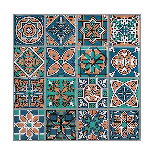 HUE DECORATION Mexican Talavera Tiles, Peel and Stick Tile Backsplash for Kitchen, Anti Corrosion Backsplash Peel and Stick,Stick on Tiles for Stairs Backsplash 10 x10 inch (5 Sheet)