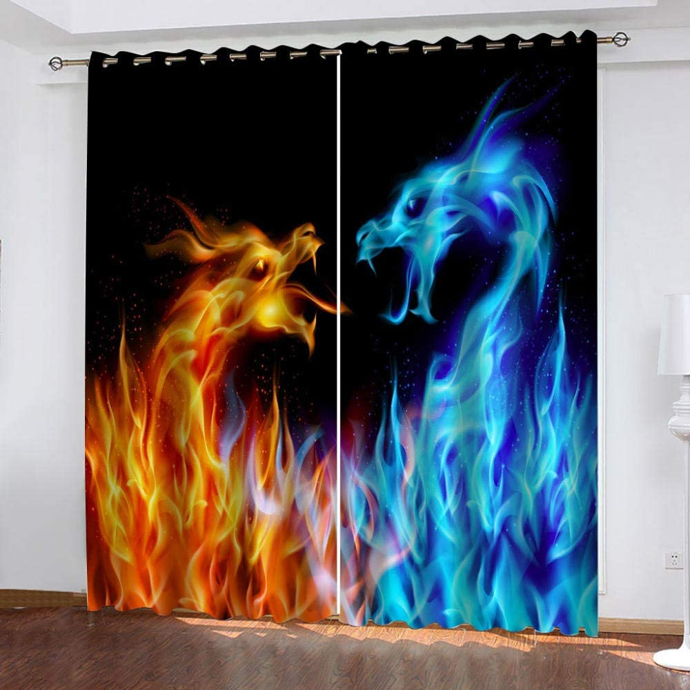 SFALHX Blackout Curtains for Kids Black /& Ice Fire Dragon Eyelet Curtains Super Soft Thermal Insulated 2 Panels Darkening Curtain for Living Room Bedroom Nursery 29.5x65 inch