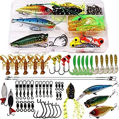 SUPERTHEO Fishing Lure Set Fishing Spoons Frog Lures Soft Hard Metal Lure Crank Popper Minnow Pencil Jig Hook for Trout Bass Salmon with Tackle Box