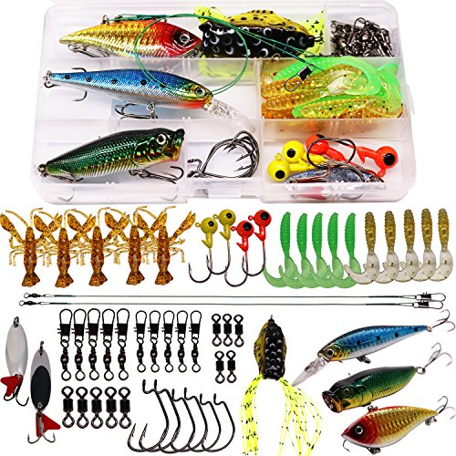 SUPERTHEO Fishing Lures, Fishing Spoons Frog Lures Soft Hard Metal Lure VIB Rattle Crank Popper Minnow Pencil Jig Hook for Trout Bass Salmon with Free Tackle Box ()