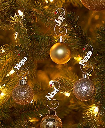 Sets of 48 Jeweled Tree Hooks , Words Gold
