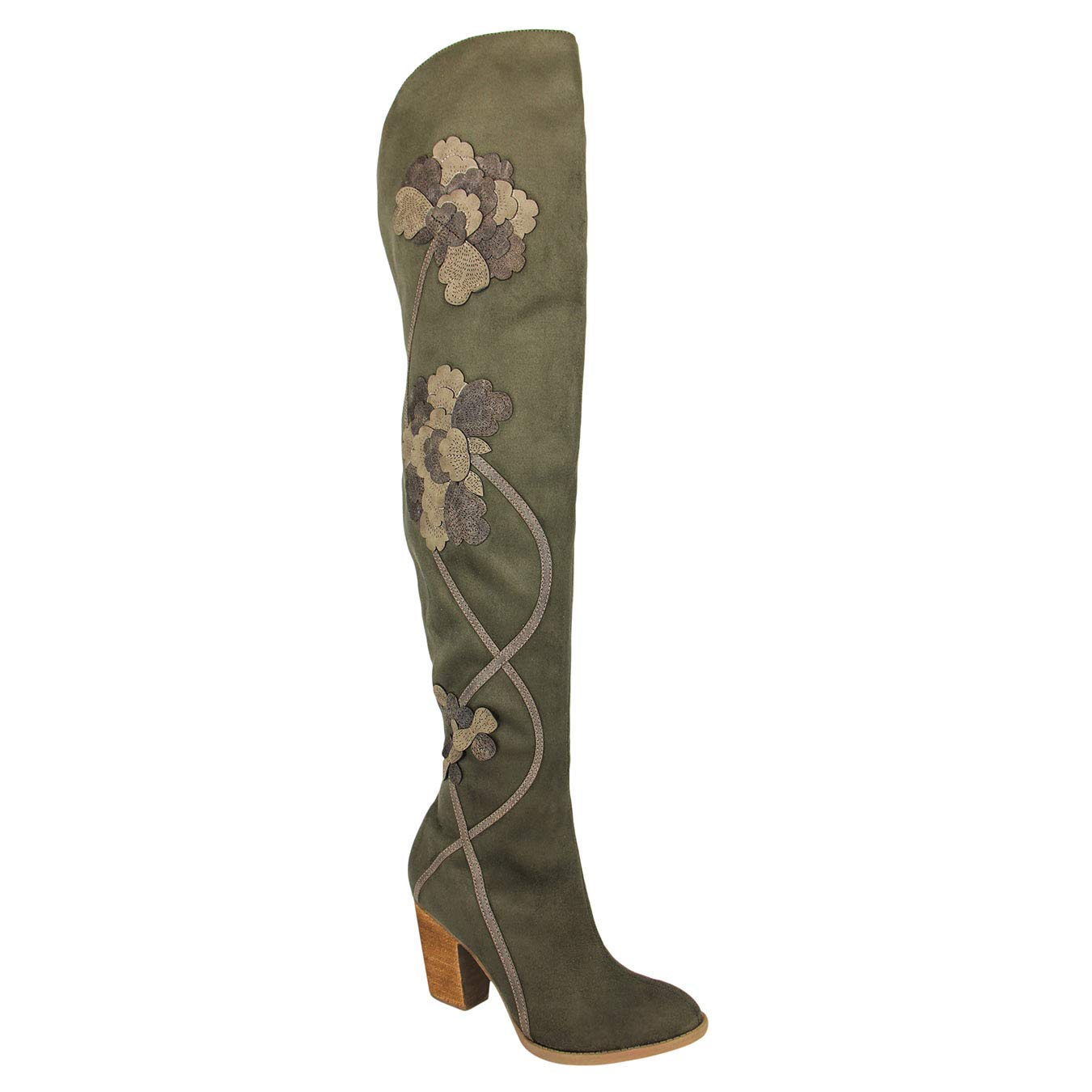 Not Rated Alexis Over The Knee High Heel Boot with Intricate Floral Detail