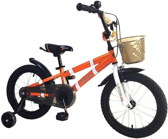 AJZGF Bicicletas niños Bicicletas for niños de 3 a 6 años Bicicleta de Pedales for niños y niñas con Rueda de Entrenamiento y Freno de Mano Naranja Bicicleta Infantil (Size : A):