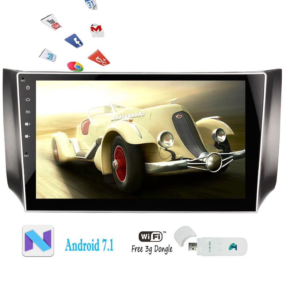 Android 7.1 Nougat Car Stereo System FM/AM Radio Head Unit GPS Navigation Video Player for Nissan Sylphy 2016 2017 Bluetooth Wifi 16GB ROM Quad Core Mirrorlink OBD2 + Free 3G Dongle B076P79JB1