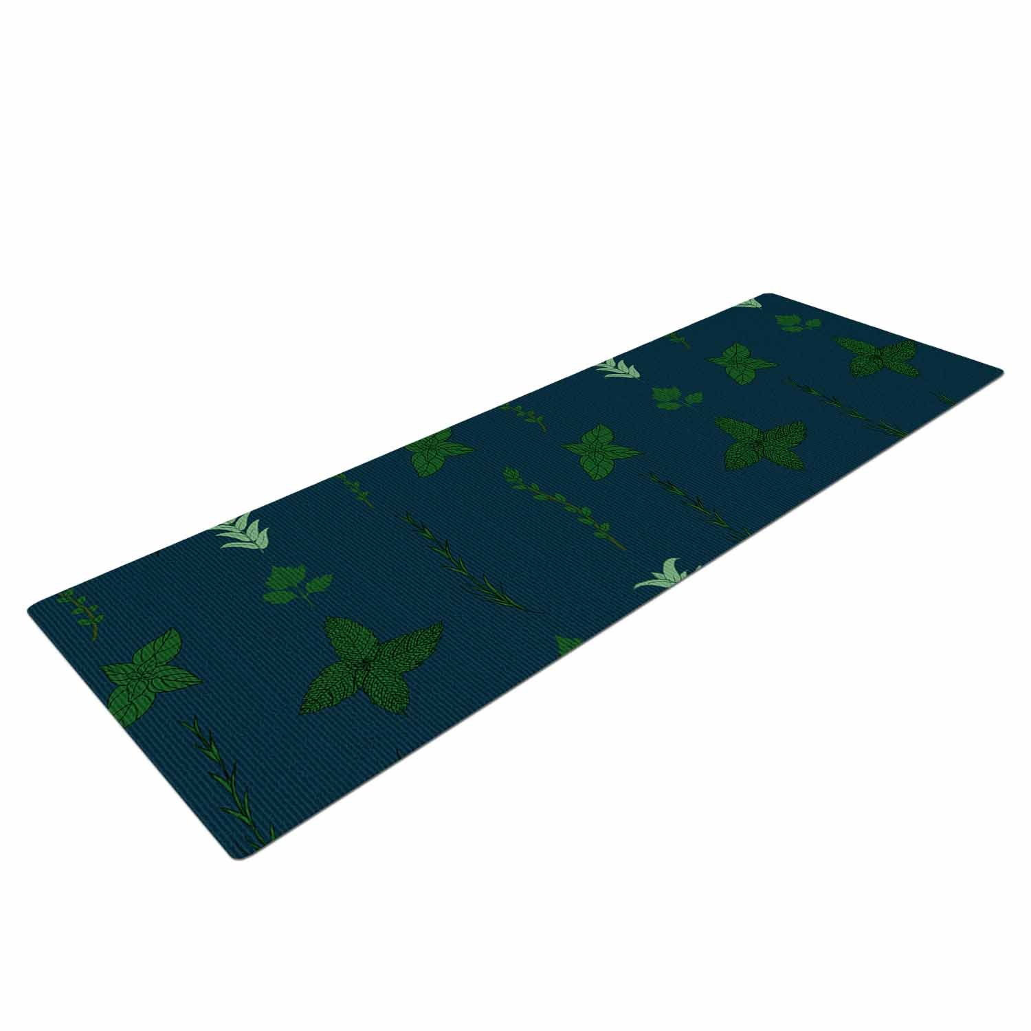SV1016AYM01 72 X 24 72 X 24 KESS Global Inc Kess InHouse Stephanie Vaeth Herb Garden Green Illustration Yoga Mat