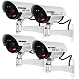Masione 4 Pack Outdoor Fake/ Dummy Security Camera w/ Blinking Light CCTV Surveillance (Silver)