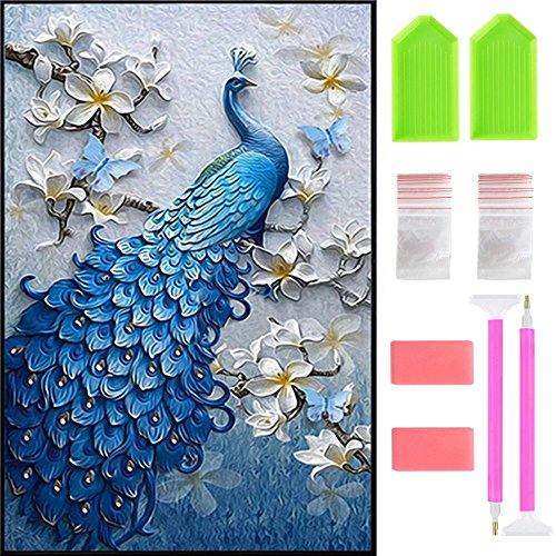 Ispeedytech 5D Diamond Painting DIY Peacock Arts Craft Painting 18''X29.5'' by-Number Kits Cross Stitch for Home Decoration with Tool Set by Ispeedytech