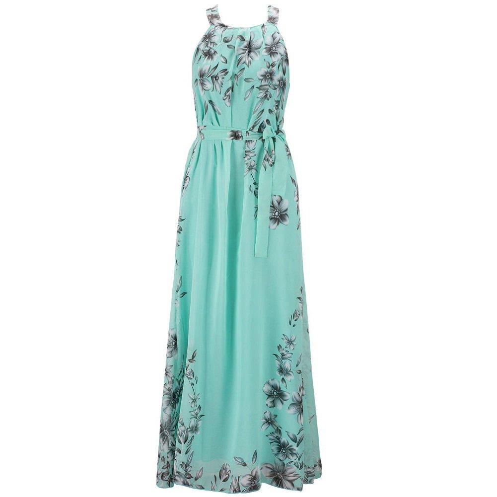 Preferhouse Women's Summer Halter Floral Print Long Maxi Dress Plus Size 4XL Mint Green