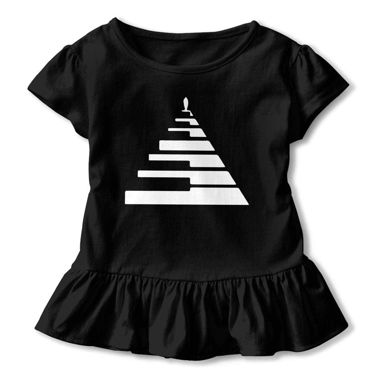 Life is Like A Piano Baby Girls Short Sleeve Ruffles T-Shirt Tops 2-Pack Cotton Tee